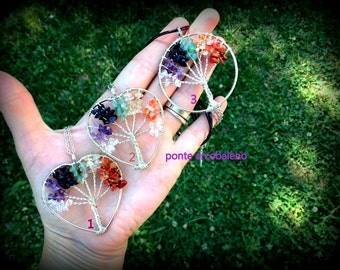 Multicolor tree of life necklace/ natural stone/ wire/ rainbow/ heart/ jewelry/ gift for her