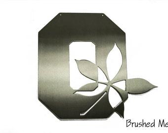 Ohio State O with Buckeye Leaf