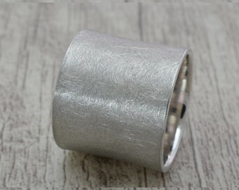 Wide ring (16mm) in 925 Silver, band ring