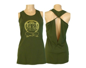 Ganesh Yoga Shirt- Open Back Extended Length Tank Top- WK11