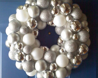 Silver and White Winter Wreath