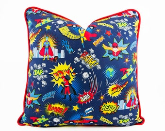 Superhero Pillow Cover with Red Piping, Comic Book décor, Decorative Kids Pillows, Boys Room Decor, Comic Book Hero Cushion, Boys pillows