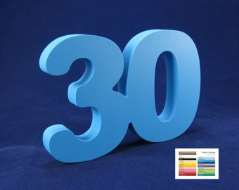 30th celebration wooden number free standing 25 colour options birthday anniversary decoration
