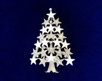 50% On SALE White Christmas Tree Pin..Silver Christmas Tree Brooch..Christmas Star Pin..Christmas Pin..Christmas Gift..Christmas Party Favor