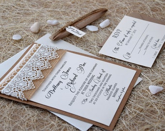 Lace Wedding Invitation, Burlap And Lace Wedding Invitation, Rustic Wedding  Invitation, Burlap Invitation