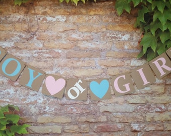 Boy or Girl Banner, Kraft Boy or Girl Baby Announcement, Gender Reveal Banner, Banner for Gender Reveal Party, Squares Size 4 inch x 4 inch