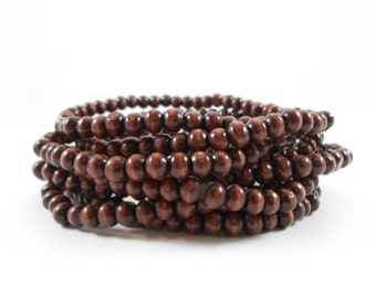 Wood Bead Bracelet, 4mm Dark Wooden Bead Bracelet, Small Wooden Beads, Hand Strung Wood Beads, Mens or Womens Wood Bracelet, Wooden Beads