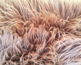 """Bronze Luxury Long Pile Faux Shaggy Fur Fabric - Sold By The Yard - 60"""""""