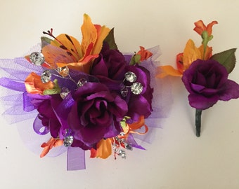 Prom Silk Corsage, Purple and Orange Wrist Corsage, Silk Corsage, Wedding