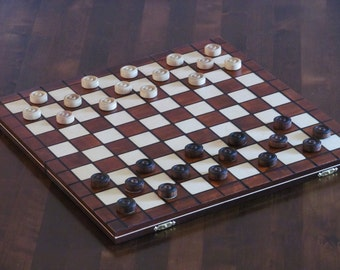 Brand New Hand crafted wooden draughts checkers set 39cmx39cm