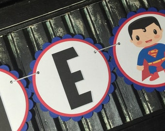 Superman High Chair Banner-High Chair Bunting-First Birthday-Photo Prop-Superman Birthday-Superman Baby Shower-I Am One-One Year Old