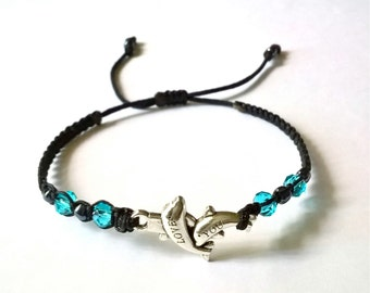 Very nice Black thin Bracelet with Dolphins and Blue Crystals