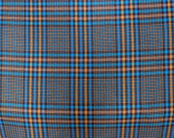 prince de Galles  prince of Wales teal blue gold mustard check pattern wool suiting fabric pure wool suiting jacketing