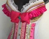 Golden Princess Peach Bustier: rave bra, rave wear, festival, cosplay,mario, nintendo