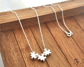 Sterling Silver three Puzzle Piece Shaped Charm Necklace, Puzzle Piece Pendant Necklace, Puzzle Necklace, Puzzle Piece, Silver Puzzle,