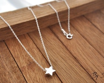 Sterling Silver Star Necklace, Star Charm Necklace, Tiny Star, Silver Star, Star Pedant, Little Star, Star, a star from the sky, lucky star