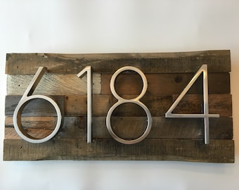 Rustic Address Plaque made from Reclaimed Wood - metal, custom, personalized, house numbers, address sign, cabin, cottage, housewarming gift
