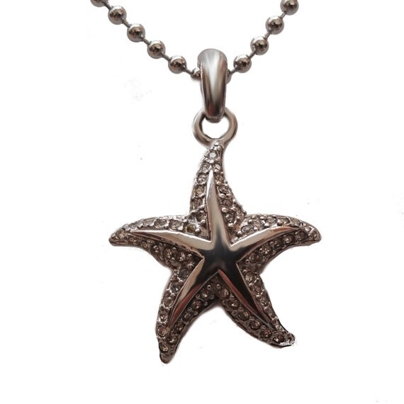 Cremation urn starfish w cz stone necklace by daysneverforget for Fish urn necklace