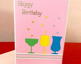 Happy Birthday Colorful Wine Glasses Handmade Card