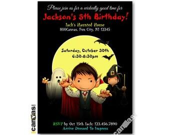Halloween Birthday Invitation, Halloween Invitation, Boo-thday Party, Trick Or Treat, Boys, Girls, Kids Birthday Printable Invitation HL08