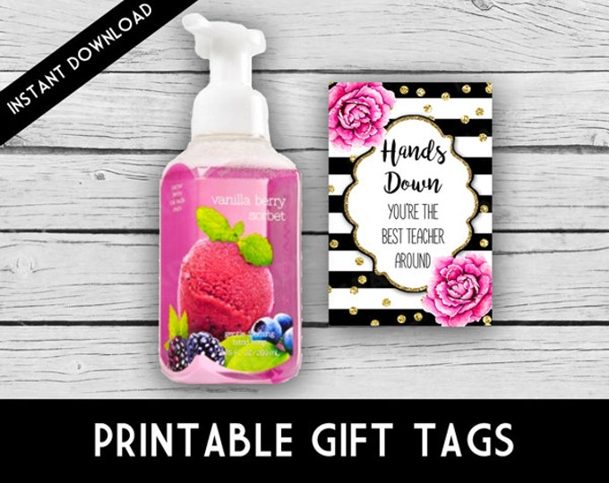 DIGITAL Teacher Appreciation Labels - Pink Peonies, Soap/Hand Sanitizer, Teacher Gifts, Teacher Appreciation, Back to School