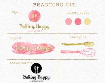 Baking Branding Kit , Baking Logo , Branding Package , Pink and Gold , Whisk Logo , Spoon Logo , Foodie Logo , Bakery Logo , Baking Blog