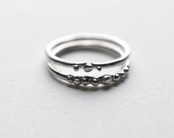 mustard seed ring set | stacking rings | sterling silver stacking rings | gold stacking rings | rose gold stacking rings