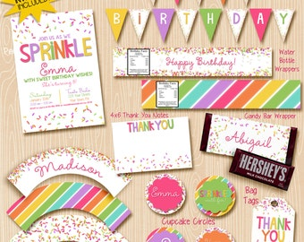 Girl Sprinkle party invitation printable decorations / party package