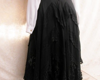 Vintage steampunk gothic black full skirt, ankle length, fully lined, Size Medium, lace and sequin, polyester,