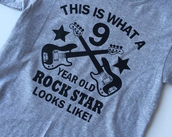 This is what a 9 year old rock star looks like, birthday boy t-shirt