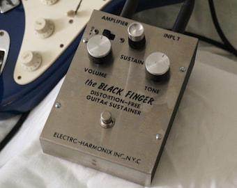 Rare Original Stompbox > the BLACK FINGER > Distortion-Free Guitar Sustainer > Elecro-Harmonix Inc., N.Y.C. > Vintage Guitar Effect Pedal