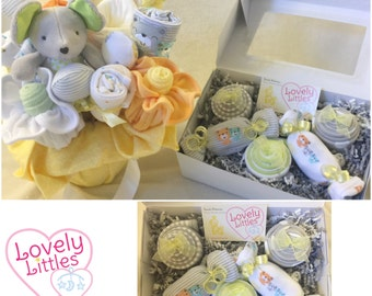 New Gender Neutral Baby Gift Basket and Cupakes for  - Ultimate New Baby Gift Set Sweet Treats Candy Bouquet and Cupcakes Bundle