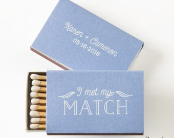 I MET MY MATCH Wings Matchboxes - Wedding Favors, Wedding Matches, Wedding Decor, Personalized Matches, Custom Matchboxes, Match Box Favors