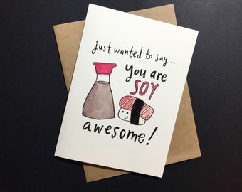 Cute and Pun-ny Soy Sauce Valentine's Day Card for Sushi Lovers