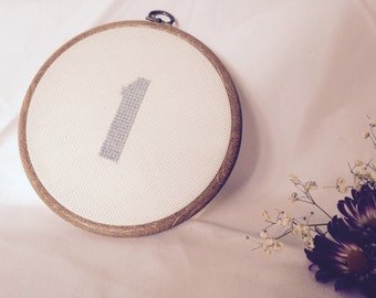 Personalised hand stitched embroidery ring/ wedding table number