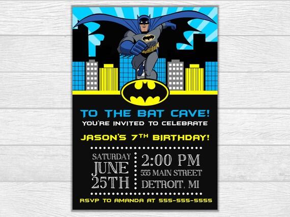 Batman invitation, batman birthday, batman invite, birthday invitation, birthday invite, printable invitation, digital download, superhero