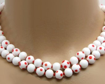 Rare Vintage Glass Polka Dot Beads Necklace Double Two Strand 9MM