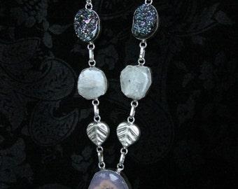 Long Boho Purple Druzy and Quartz rough stone Necklace