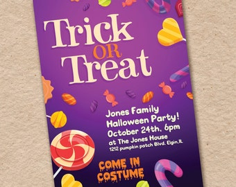 Costume Party Invitations, Halloween Party, trick or treat 0212