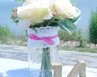 1 - 32oz (Qt) HOT PINK Lace Mason Jar