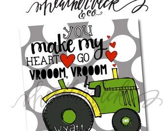 Boy Tractor Valentines Card