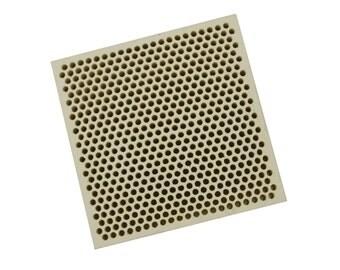Honeycomb Ceramic Block Square 66 X 66 X 12.5 mm w/ 537 Holes (2 mm Dia.) - SOLD-0064