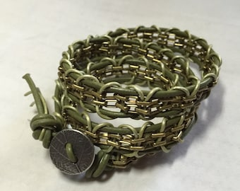 Leather Chain Wrap Bracelet