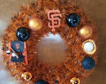 12 inch Sergio Romo Orange and Black foil SF Giants wreath