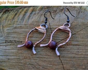 ON SALE Copper earrings Copper jewelry Wire wrapped earrings Handmade earrings Copper wire earrings Copper wire jewelry Gemstone earrings