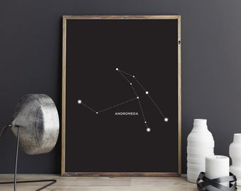 Andromeda Constellation Art Print, Astrology Art Print, Constellation Art Print, Star Home Decor, Night Sky Home Decor, Andromeda Art Print