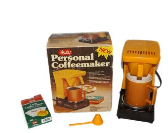 1970s coffee maker, vintage coffee maker, 70s coffee pot, vintage single cup coffee, 1970s yellow, 1970s kitchen, 1970s Melitta