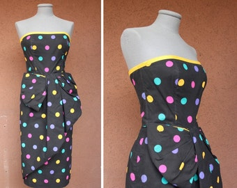 1980's Victor Costa Bustier Dress - Vintage Polka Dot Colorful Bustier Dress - Size S