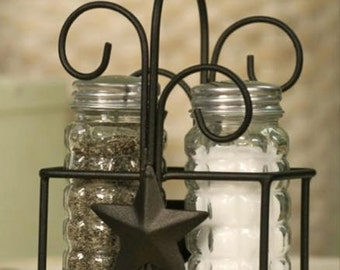 Star caddy with glass jar shakers