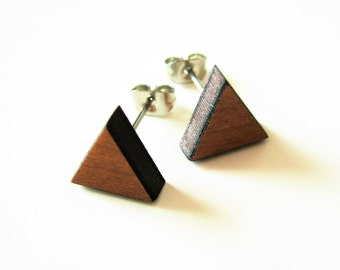 Earrings minimalist stud type triangle laser cut cherry wood and surgical steel Before Lou Rock